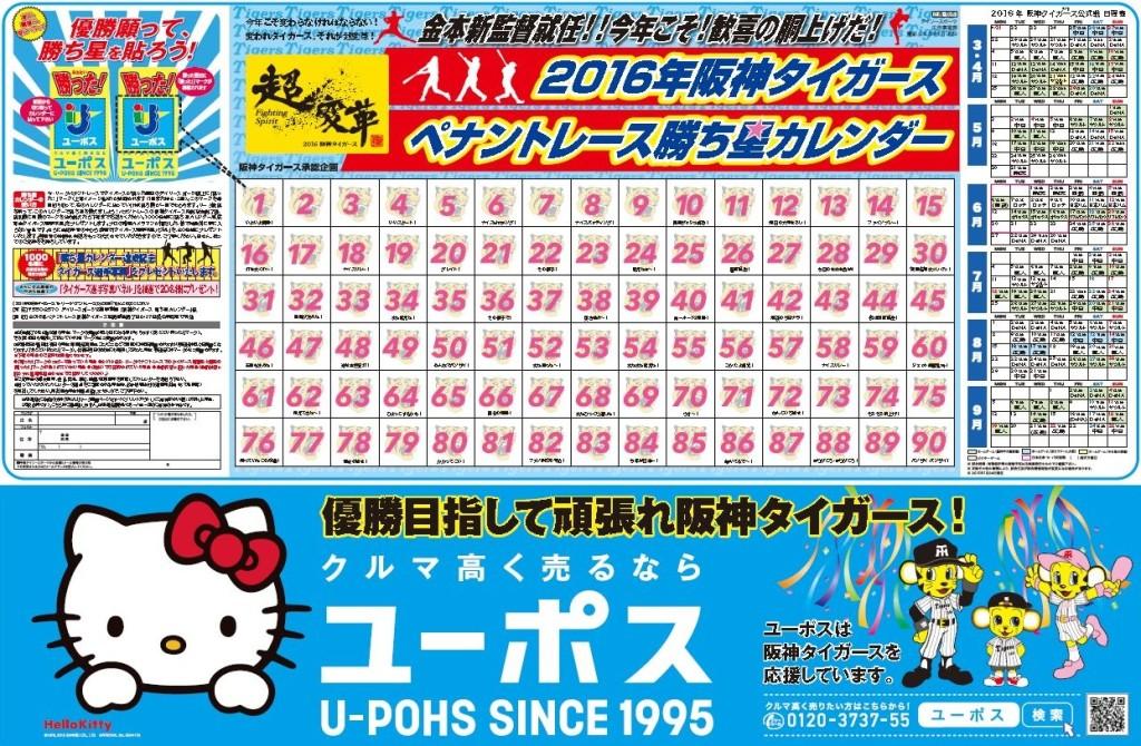 20160325日刊スポーツ新聞(勝ち星カレンダー台紙)